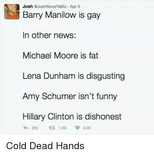 Amy Schumer, Funny, and Hillary Clinton: Josh  @Josh None YaBiz Apr 5  Barry Manilow is gay  In other news:  Michael Moore is fat  Lena Dunham is disgusting  Amy Schumer isn't funny  Hillary Clinton is dishonest  4th 290 1.9K 4.3K Cold Dead Hands