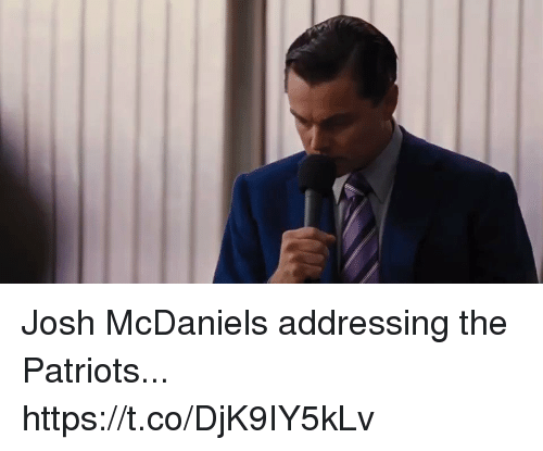 Football, Nfl, and Patriotic: Josh McDaniels addressing the Patriots... https://t.co/DjK9IY5kLv