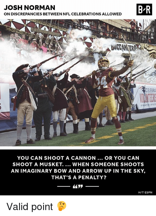 bowing: JOSH NORMAN  ON DISCREPANCIES BETWEEN NFL CELEBRATIONS ALLOWED  B R  DUGAN ER  YOU CAN SHOOT A CANNON.. OR YOU CAN  SHOOT A MUSKET. WHEN SOMEONE SHOOTS  AN IMAGINARY BOW AND ARROW UP IN THE SKY,  THAT'S A PENALTY?  H/T ESPN Valid point 🤔