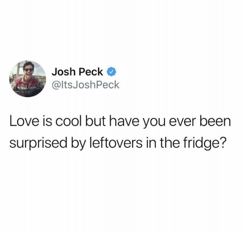 Josh Peck: Josh Peck  @ltsJoshPeck  Love is cool but have you ever been  surprised by leftovers in the fridge?