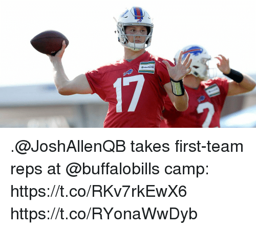 Memes, 🤖, and Camp: .@JoshAllenQB takes first-team reps at @buffalobills camp: https://t.co/RKv7rkEwX6 https://t.co/RYonaWwDyb