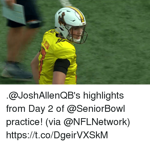 Memes, 🤖, and Via: .@JoshAllenQB's highlights from Day 2 of @SeniorBowl practice!  (via @NFLNetwork) https://t.co/DgeirVXSkM