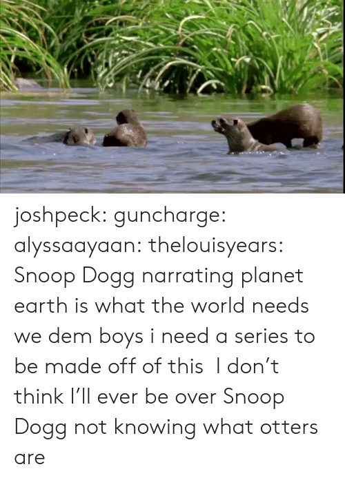 Otters: joshpeck: guncharge:  alyssaayaan:  thelouisyears:  Snoop Dogg narrating planet earth is what the world needs  we dem boys  i need a series to be made off of this    I don't think I'll ever be over Snoop Dogg not knowing what otters are