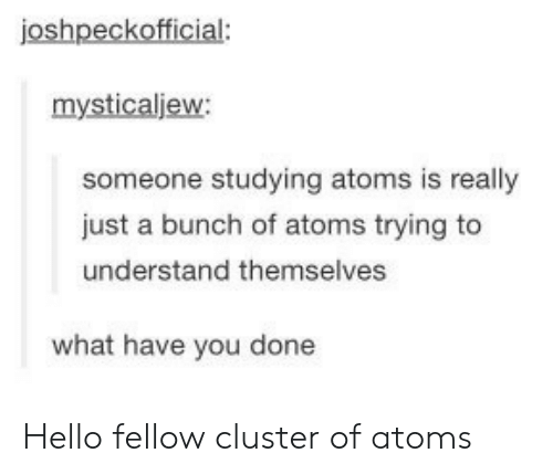 You Done: joshpeckofficial:  mysticaljew:  someone studying atoms is really  just a bunch of atoms trying to  understand themselves  what have you done Hello fellow cluster of atoms