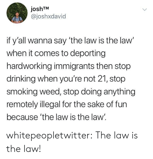 Stop Smoking: joshTM  @joshxdavid  if y'all wanna say 'the law is the law'  when it comes to deporting  hardworking immigrants then stop  drinking when you're not 21, stop  smoking weed, stop doing anything  remotely illegal for the sake of fun  because 'the law is the law. whitepeopletwitter:  The law is the law!