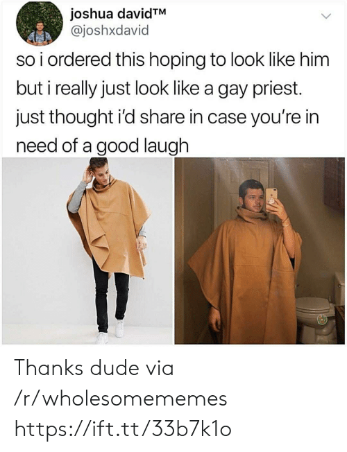 In Need: joshua davidTM  @joshxdavid  so i ordered this hoping to look like him  but i really just look like a gay priest.  just thought i'd share in case you're in  need of a good laugh Thanks dude via /r/wholesomememes https://ift.tt/33b7k1o