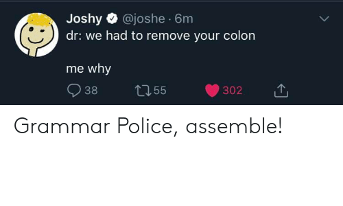 grammar police: Joshy @joshe 6m  dr: we had to remove your colon  me why  38  L155  302 Grammar Police, assemble!
