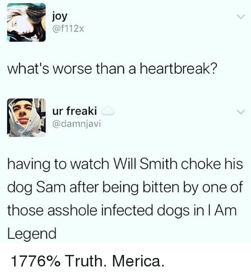 Dogs, Memes, and Will Smith: joy  @f112x  what's worse than a heartbreak?  ur freaki  @damnjavi  having to watch Will Smith choke his  dog Sam after being bitten by one of  those asshole infected dogs in l Am  Legend 1776% Truth. Merica.