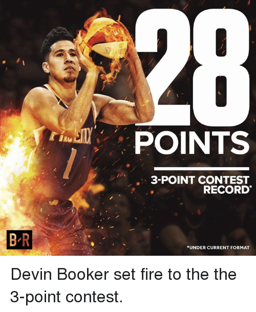Fire, Record, and Format: JPOINTS  3-POINT CONTEST  RECORD  B R  UNDER CURRENT FORMAT Devin Booker set fire to the the 3-point contest.