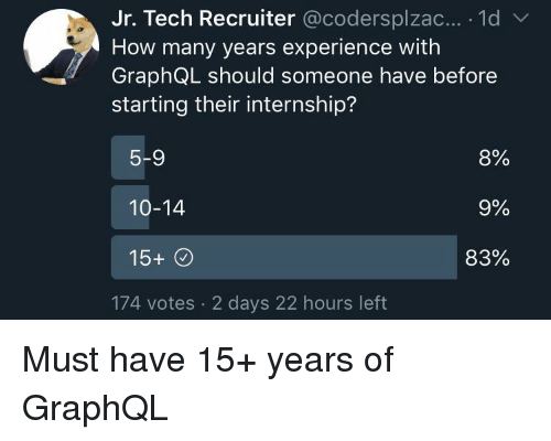 how-many-years: Jr. Tech Recruiter @codersplzac... 1d  How many years experience with  GraphQL should someone have before  starting their internship?  5-9  10-14  15+  8%  9%  83%  174 votes 2 days 22 hours left Must have 15+ years of GraphQL