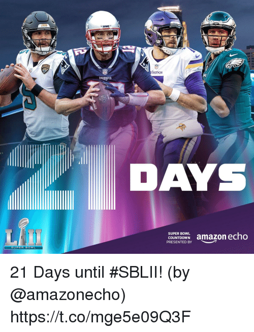 Amazon, Countdown, and Memes: JRGS  JAGS  Kings  PATRIOTS  DAYS  COUERDOWN amazon echo  COUNTDOWN  PRESENTED BY  SUPER BOWL 21 Days until #SBLII!  (by @amazonecho) https://t.co/mge5e09Q3F