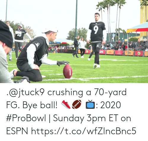 yard: .@jtuck9 crushing a 70-yard FG. Bye ball! 👟🏈  📺: 2020 #ProBowl | Sunday 3pm ET on ESPN https://t.co/wfZlncBnc5