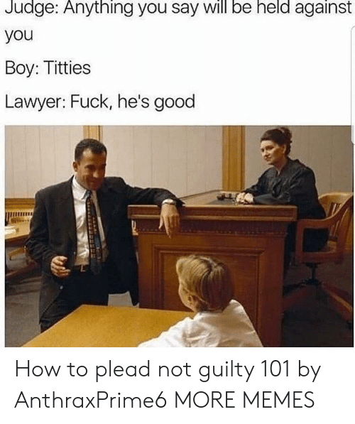 plead: Judge:  Anything  you say be  will  held  against  you  Boy: Titties  Lawyer: Fuck, he's good How to plead not guilty 101 by AnthraxPrime6 MORE MEMES