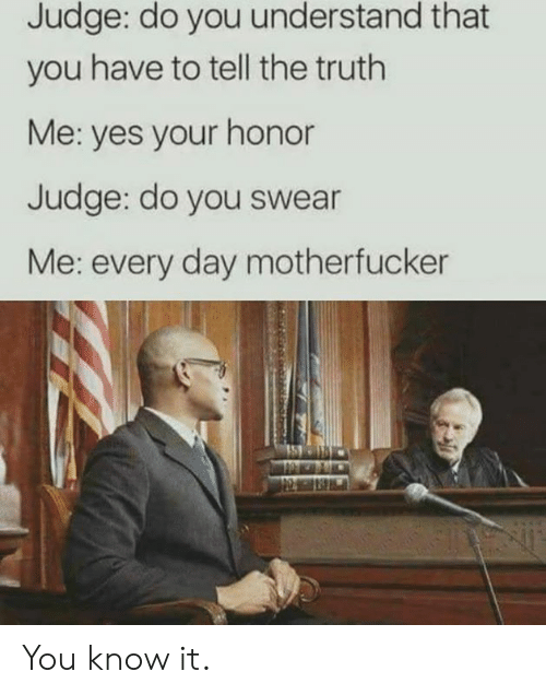 Tell The Truth: Judge: do you understand that  you have to tell the truth  Me: yes your honor  Judge: do you swear  Me: every day motherfucker You know it.