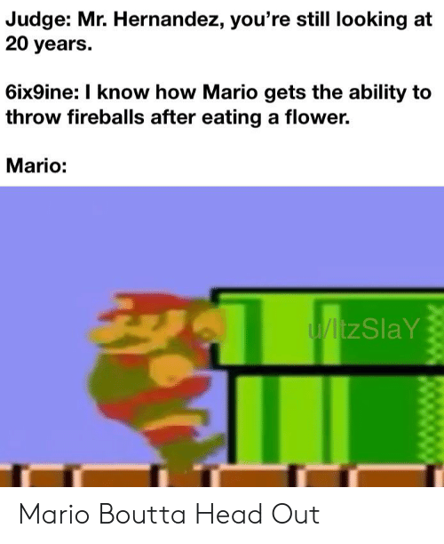 fireballs: Judge: Mr. Hernandez, you're still looking at  20 years.  6ix9ine: I know how Mario gets the ability to  throw fireballs after eating a flower.  Mario:  U/ltzSlaY Mario Boutta Head Out