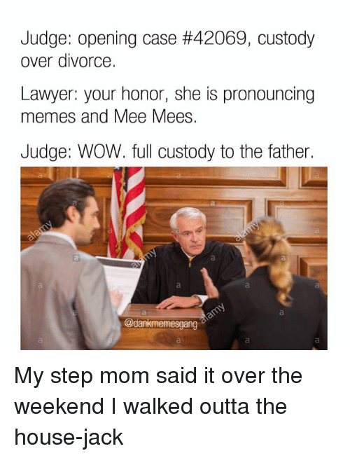 Pronounce Memes: Judge: opening case #42069, custody  over divorce.  Lawyer: your honor, she is pronouncing  memes and Mee Mees.  Judge: WOW. full custody to the father.  @dankmemesgang My step mom said it over the weekend I walked outta the house-jack