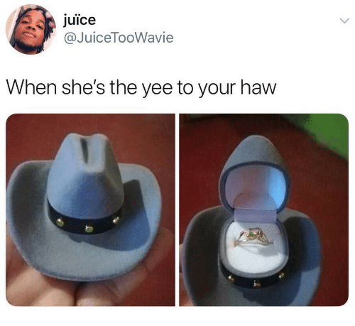 Juice, Yee, and Shes: juice  @JuiceTooWavie  When she's the yee to your haw
