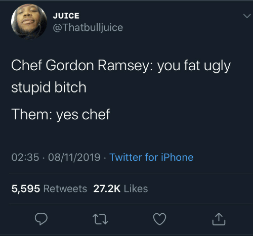 gordon ramsey: JUICE  @Thatbulljuice  Chef Gordon Ramsey: you fat ugly  stupid bitch  Them: yes chef  02:35 08/11/2019 Twitter for iPhone  5,595 Retweets 27.2K Likes
