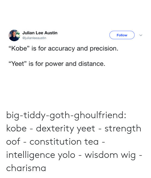 "YOLO: Julian Lee Austin  @julianleeaustin  Follow  ""Kobe"" is for accuracy and precision.  ""Yeet"" is for power and distance. big-tiddy-goth-ghoulfriend: kobe - dexterity yeet - strength oof - constitution tea - intelligence yolo - wisdom wig - charisma"