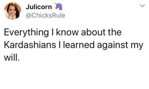 the kardashians: Julicorrn  @ChicksRule  Everything l know about the  Kardashians I learned against my