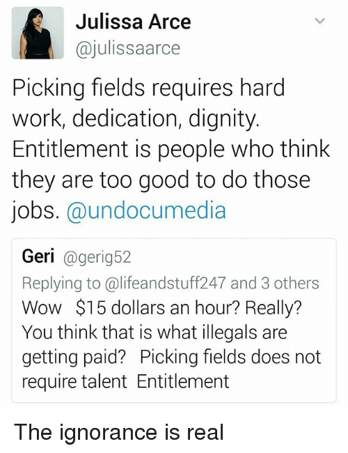 entitlement: Julissa Arce  ajulissaarce  Picking fields requires hard  work, dedication, dignity  Entitlement is people who think  they are too good to do those  jobs. @undocumedia  Geri  eri  Replying to ali feandstuff247 and 3 others  Wow $15 dollars an hour? Really?  You think that is what illegals are  getting paid? Picking fields does not  require talent Entitlement The ignorance is real