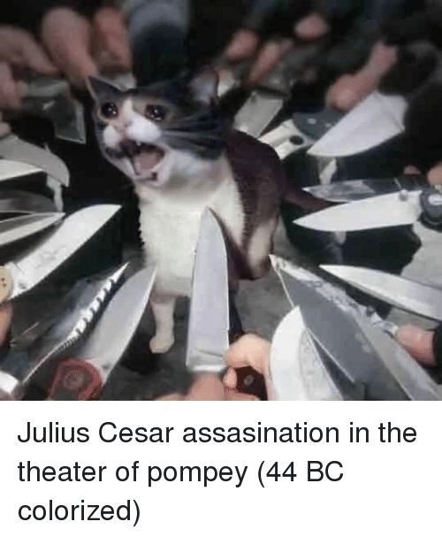 pompey: Julius Cesar assasination in the theater of pompey (44 BC colorized)