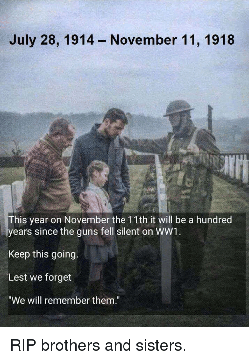 """brothers and sisters: July 28, 1914  November 11, 1918  his year on November the 11th it will be a hundred  ears since the guns fell silent on WW1  Keep this going.  Lest we forget  """"We will remember them."""" RIP brothers and sisters."""