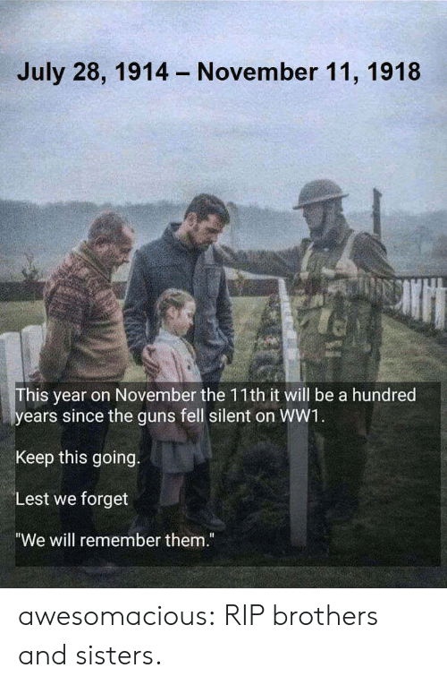 """brothers and sisters: July 28, 1914  November 11, 1918  his year on November the 11th it will be a hundred  ears since the guns fell silent on WW1  Keep this going.  Lest we forget  """"We will remember them."""" awesomacious:  RIP brothers and sisters."""