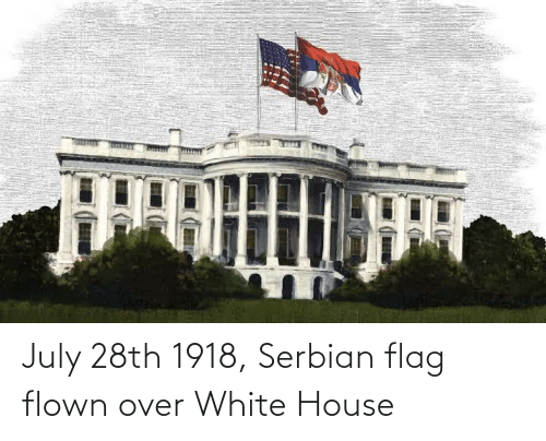White House: July 28th 1918, Serbian flag flown over White House