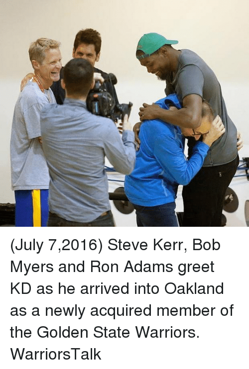 Basketball, Golden State Warriors, and Sports: (July 7,2016) Steve Kerr, Bob Myers and Ron Adams greet KD as he arrived into Oakland as a newly acquired member of the Golden State Warriors. WarriorsTalk
