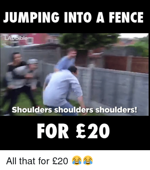 ibl: JUMPING INTO A FENCE  LAD ibl  Shoulders shoulders shoulders!  FOR E20 All that for £20 😂😂