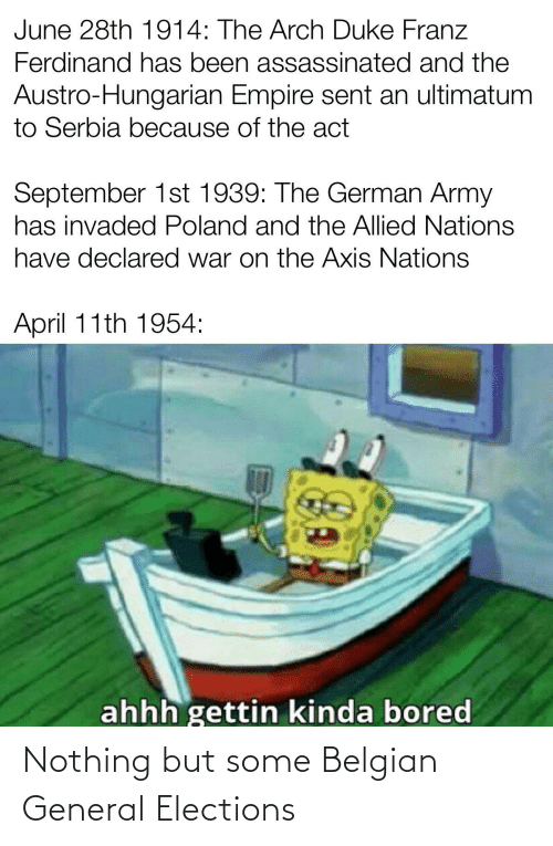 german army: June 28th 1914: The Arch Duke Franz  Ferdinand has been assassinated and the  Austro-Hungarian Empire sent an ultimatum  to Serbia because of the act  September 1st 1939: The German Army  has invaded Poland and the Allied Nations  have declared war on the Axis Nations  April 11th 1954:  ahhh gettin kinda bored Nothing but some Belgian General Elections