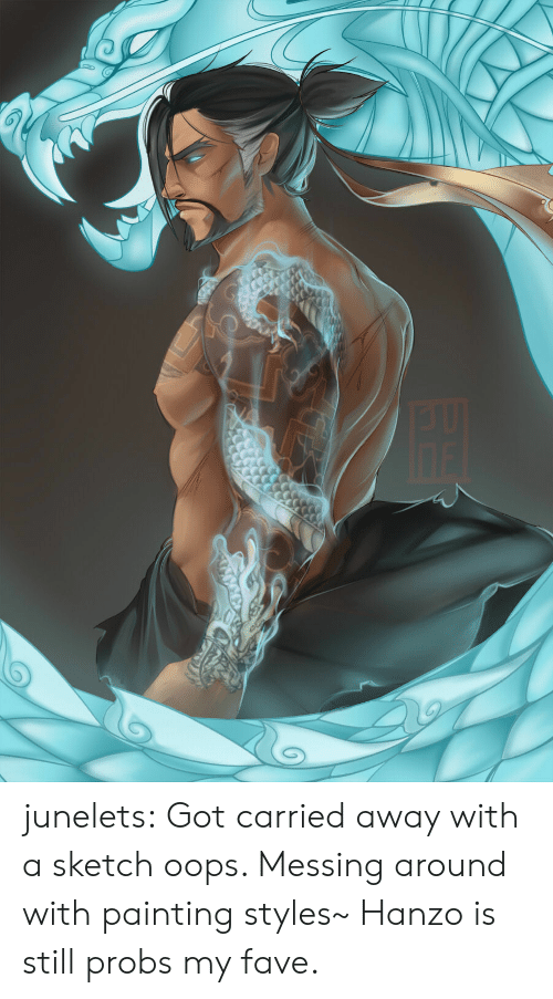 Hanzo: junelets: Got carried away with a sketch oops. Messing around with painting styles~ Hanzo is still probs my fave.