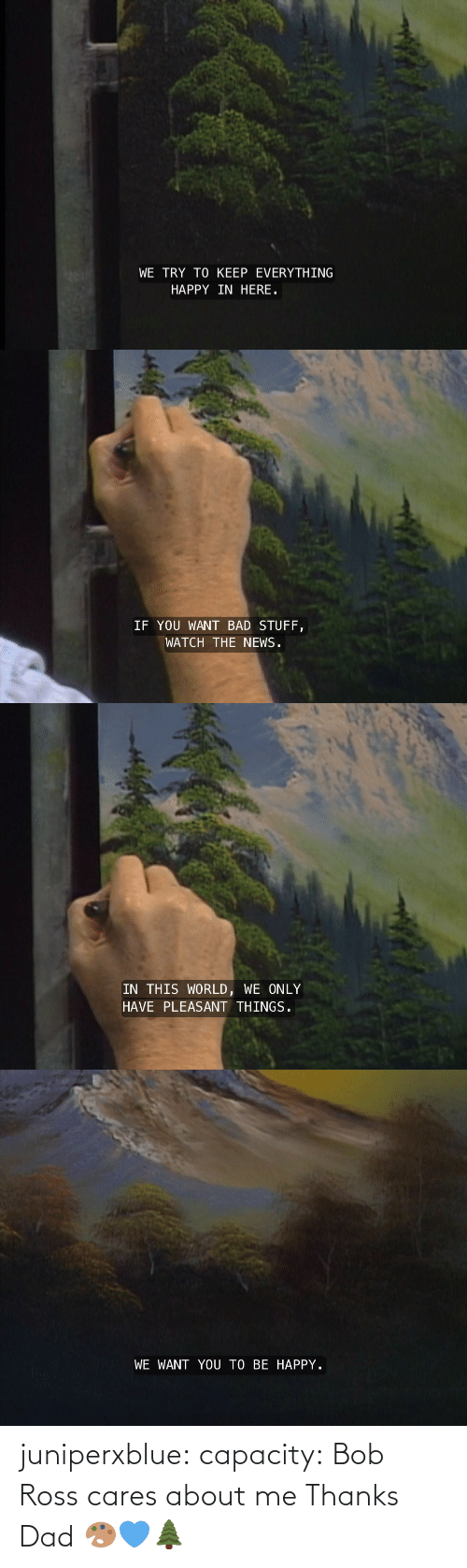 Cares: juniperxblue: capacity:  Bob Ross cares about me   Thanks Dad 🎨💙🌲
