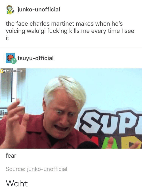 Waht: junko-unofficial  the face charles martinet makes when he's  voicing waluigi fucking kills me every time I see  it  tsuyu-official  SUP  fear  Source: junko-unofficial Waht