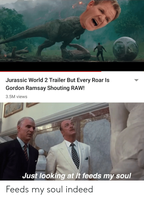 jurassic: Jurassic World 2 Trailer But Every Roar Is  Gordon Ramsay Shouting RAW!  3.5M views  Just looking at it feeds my soul Feeds my soul indeed