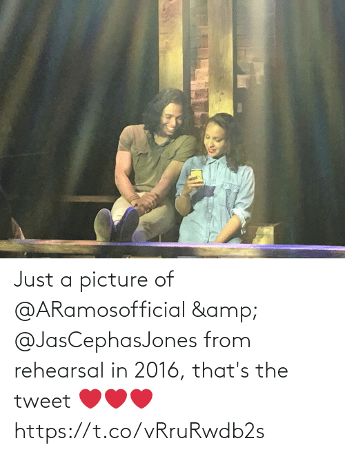 Picture Of: Just a picture of @ARamosofficial & @JasCephasJones from rehearsal in 2016, that's the tweet ❤️❤️❤️ https://t.co/vRruRwdb2s