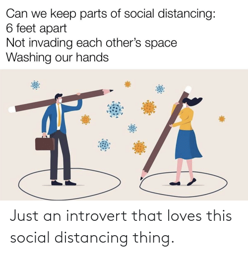 an introvert: Just an introvert that loves this social distancing thing.