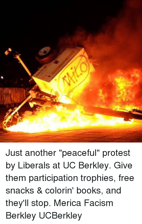 """Participation Trophy: Just another """"peaceful"""" protest by Liberals at UC Berkley. Give them participation trophies, free snacks & colorin' books, and they'll stop. Merica Facism Berkley UCBerkley"""