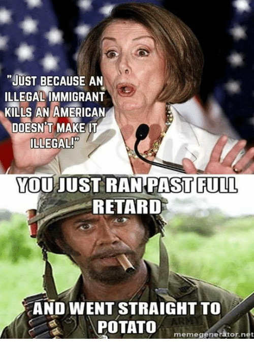 """Retardism: """"JUST BECAUSE AN  ILLEGAL IMMIGRANT  KILLS AN AMERICAN  DOESN T MAKE IT  ILLEGAL!  YOU JUST RAN PAST FULL  RETARD  AND WENT STRAIGHT TO  POTATO  ator net  meme gene"""