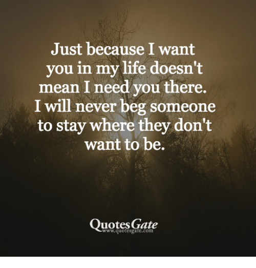 Life, Mean, And Quotes: Just Because I Want You In My Life Doesn