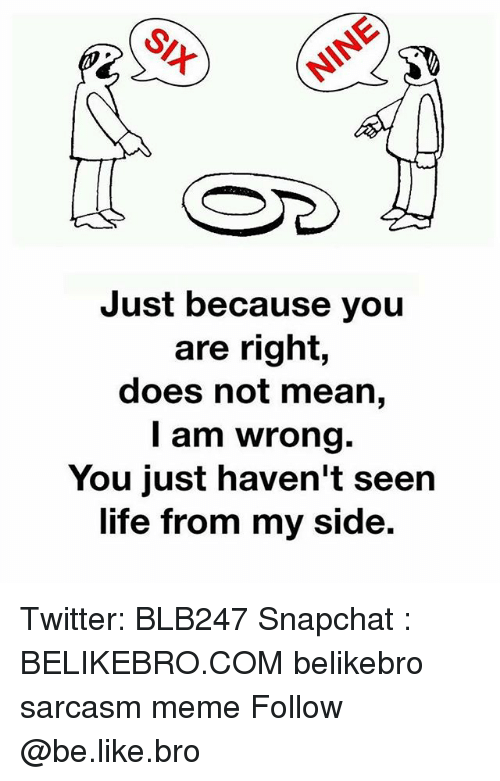 My Sides: Just because you  are right,  does not mean,  I am wrong.  You just haven't seen  life from my side. Twitter: BLB247 Snapchat : BELIKEBRO.COM belikebro sarcasm meme Follow @be.like.bro