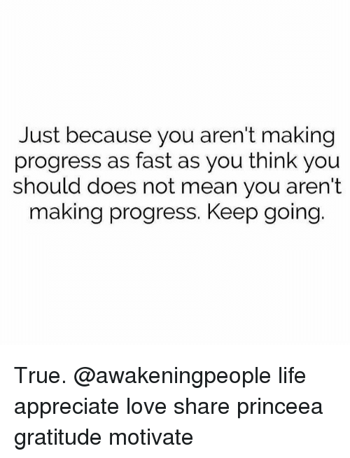 Memes, Progressive, and 🤖: Just because you aren't making  progress as fast as you think you  should does not mean you aren't  making progress. Keep going True. @awakeningpeople life appreciate love share princeea gratitude motivate