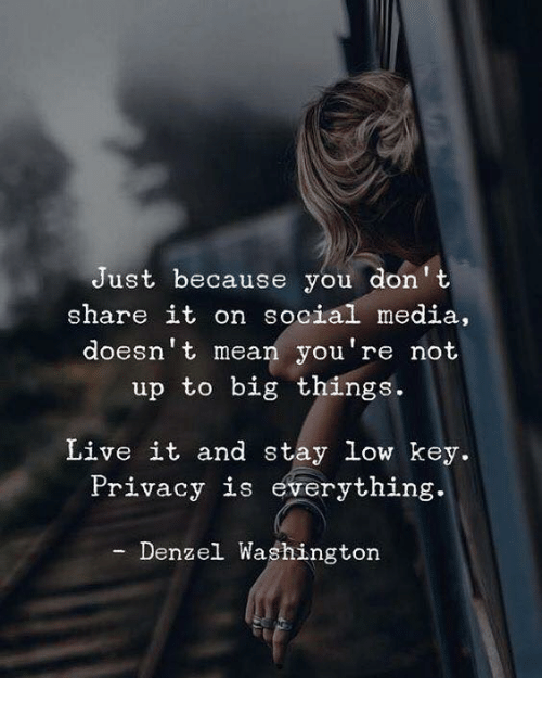 Denzel Washington: Just because you don' t  share it on social media,  doesn't mean you're not  up to big things.  Live it and stay low key.  Privacy is everything.  Denzel Washington