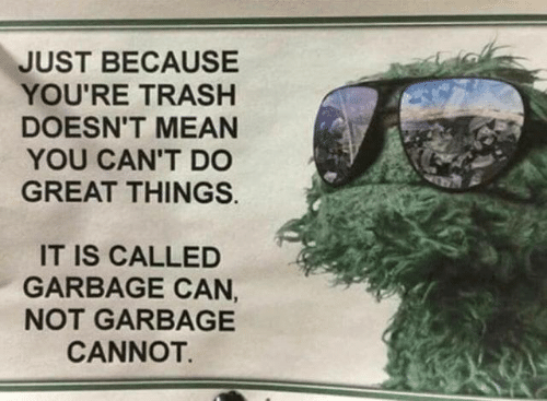 Youre Trash: JUST BECAUSE  YOU'RE TRASH  DOESN'T MEAN  YOU CAN'T D0  GREAT THINGS.  IT IS CALLED  GARBAGE CAN,  NOT GARBAGE  CANNOT.