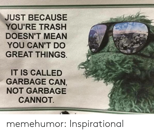 Youre Trash: JUST BECAUSE  YOU'RE TRASH  DOESN'T MEAN  YOU CAN'T DO  GREAT THINGS.  IT IS CALLED  GARBAGE CAN,  NOT GARBAGE  CANNOT. memehumor:  Inspirational