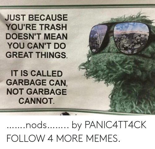 Youre Trash: JUST BECAUSE  YOU'RE TRASH  DOESN'T MEAN  YOU CAN'T DO  GREAT THINGS  IT IS CALLED  GARBAGE CAN,  NOT GARBAGE  CANNOT …….nods…….. by PANlC4TT4CK FOLLOW 4 MORE MEMES.