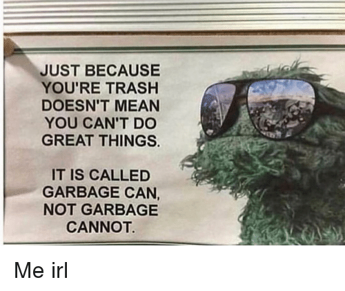 garbage can: JUST BECAUSE  YOU'RE TRASHH  DOESN'T MEAN  YOU CAN'T DO  GREAT THINGS.  IT IS CALLED  GARBAGE CAN,  NOT GARBAGE  CANNOT Me irl