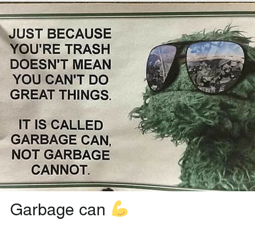 Youre Trash: JUST BECAUSEE  YOU'RE TRASH  DOESN'T MEAN  YOU CAN'T DO  GREAT THINGS.  IT IS CALLED  GARBAGE CAN,  NOT GARBAGE  CANNOT. Garbage can 💪