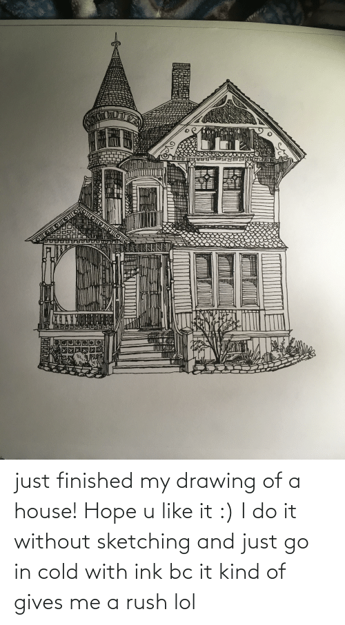 ink: just finished my drawing of a house! Hope u like it :) I do it without sketching and just go in cold with ink bc it kind of gives me a rush lol